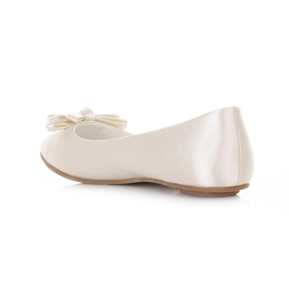 Ivory Satin Shoes Flat
