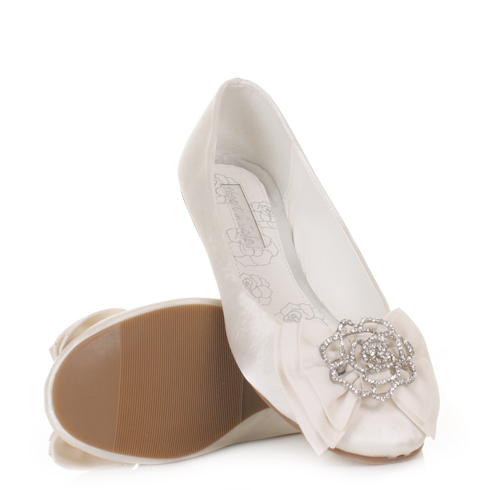 Womens Ladies Girls Flat Ivory Satin Wedding Shoes