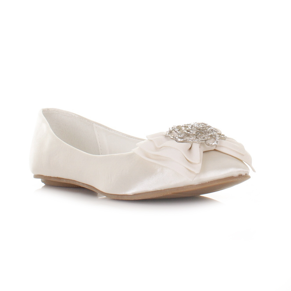 WOMENS LADIES GIRLS FLAT IVORY SATIN WEDDING SHOES BALLERINA FLAT SIZE 3 8