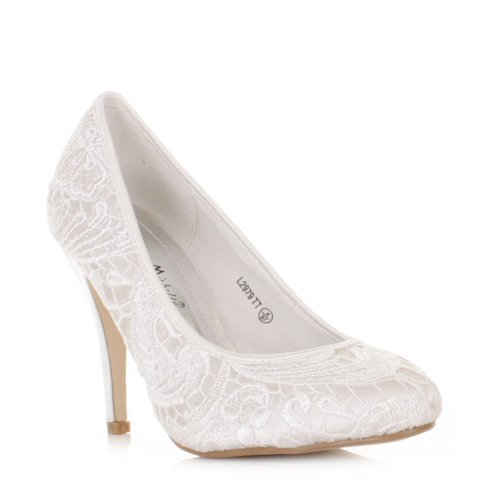 White Lace Heels - Wedding White Shoes Tt White