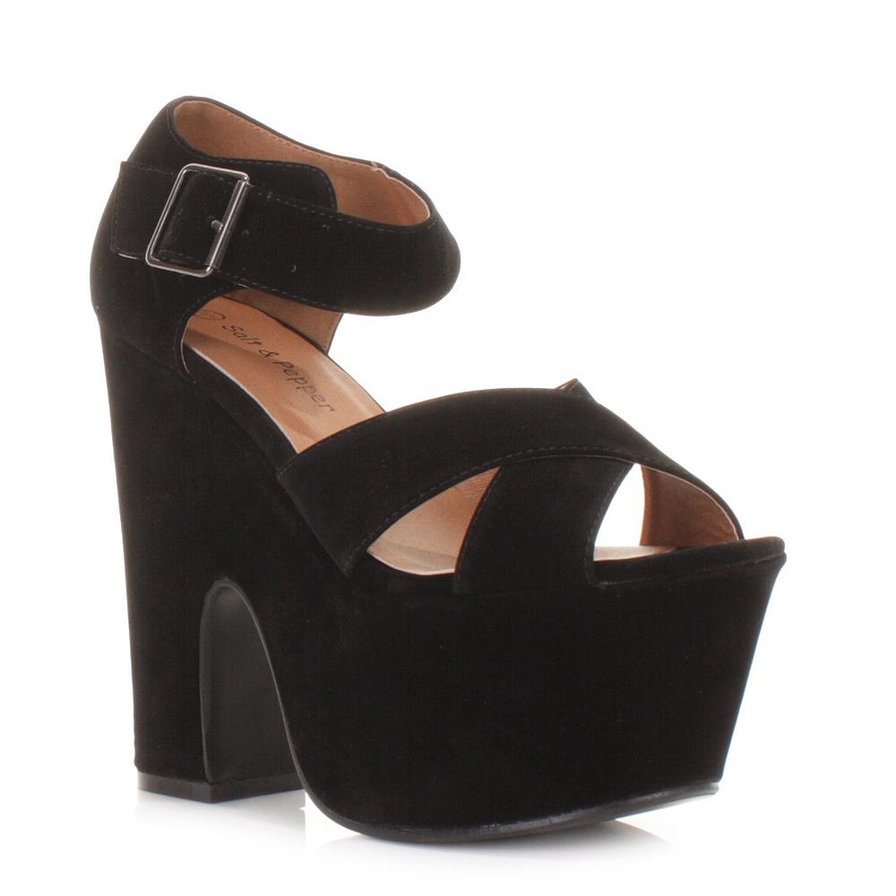 womens suede look cross platform high heels wedges
