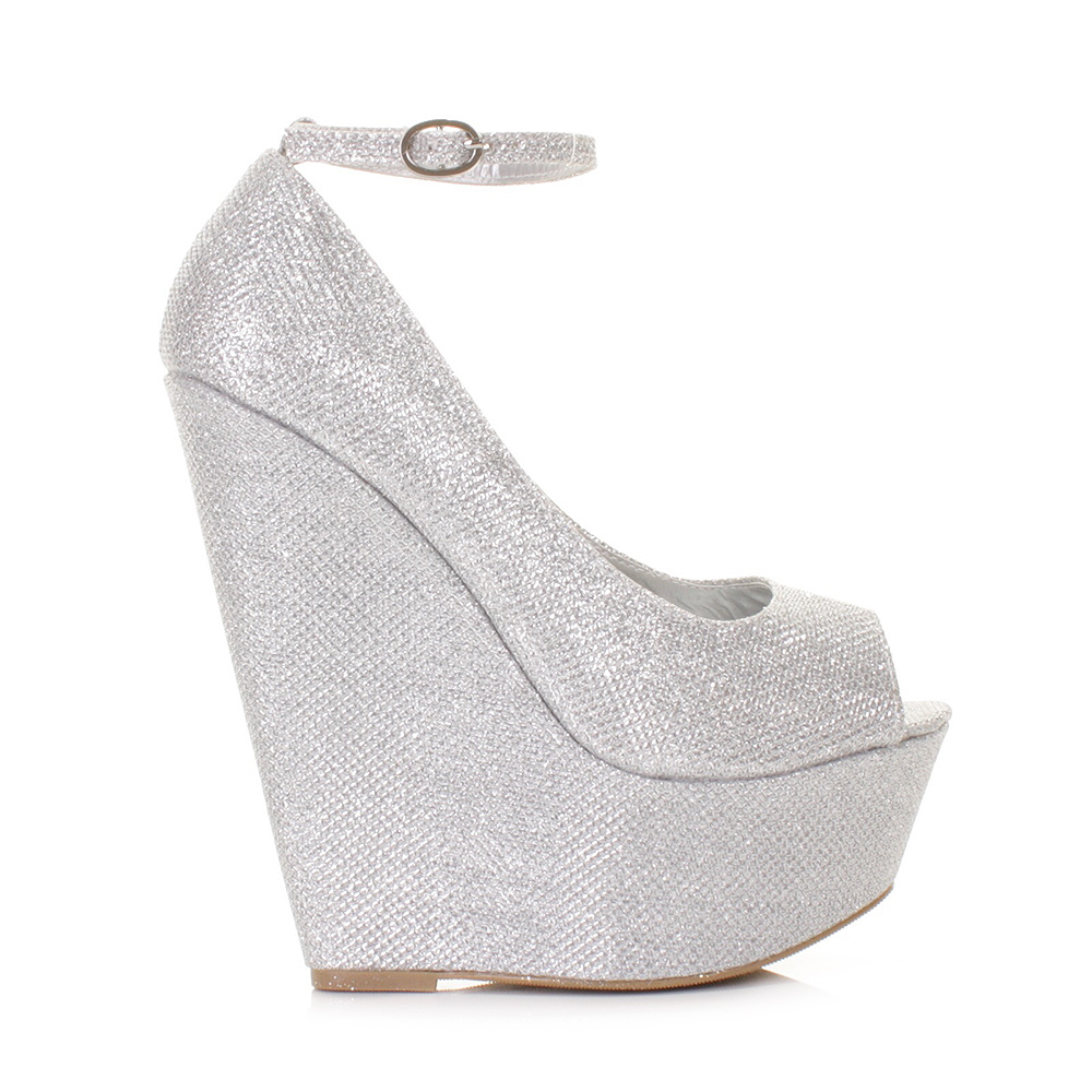 silver wedge heel shoes fs heel