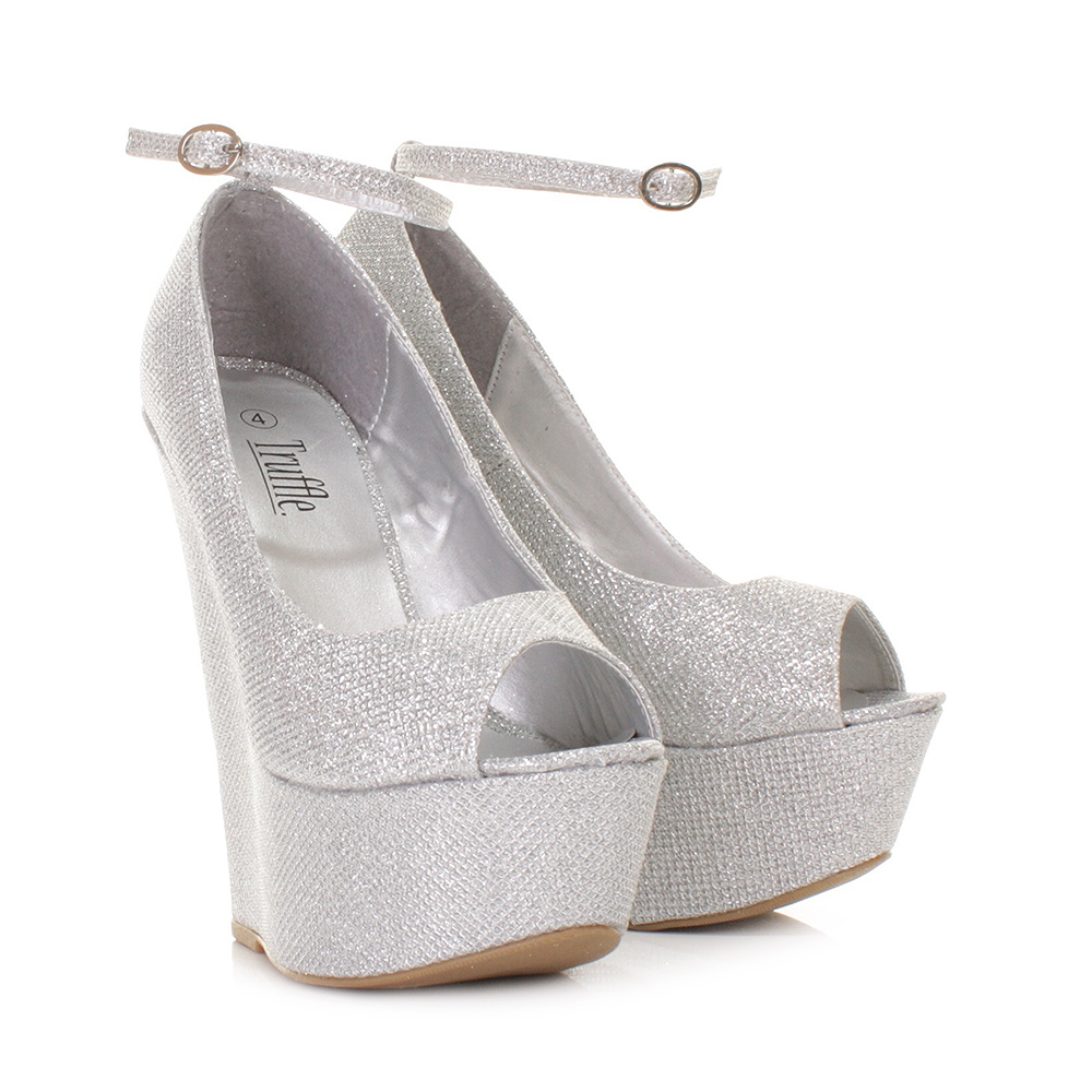 Silver Shoes Wedge Heel