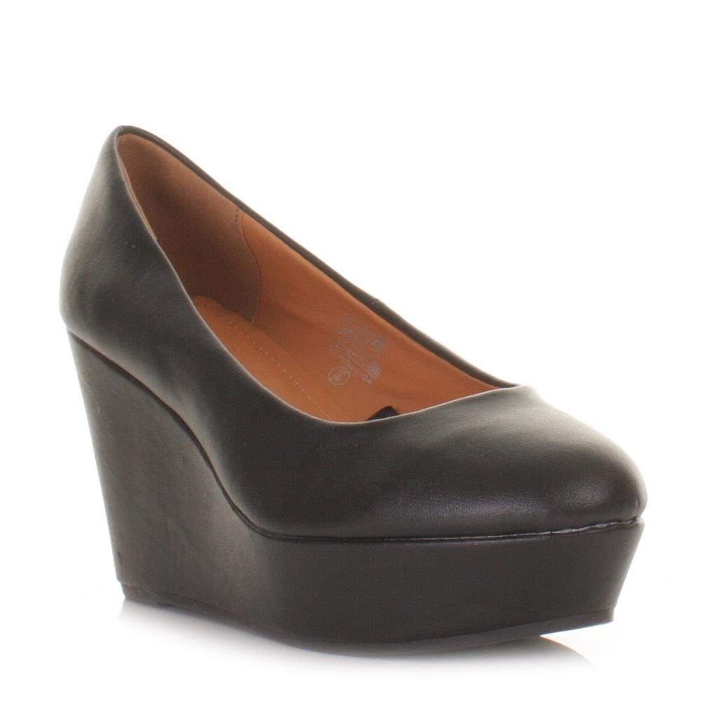 womens black platform wedge heel work office court