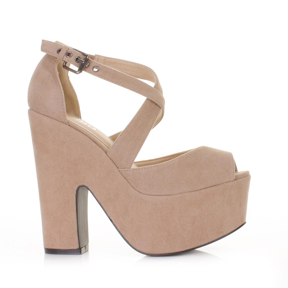 womens beige nude suede style cut out platform high heel wedges shoes size 3 8 ebay. Black Bedroom Furniture Sets. Home Design Ideas
