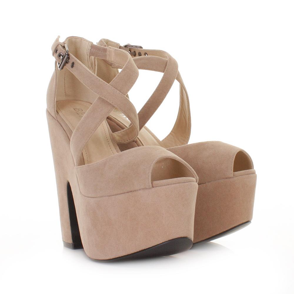 womens beige suede style cut out platform high heel