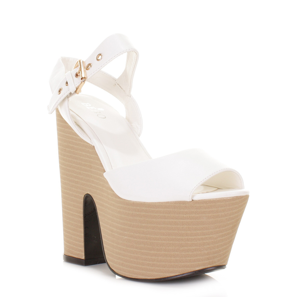 womens white leather look demi wedge platform high heel