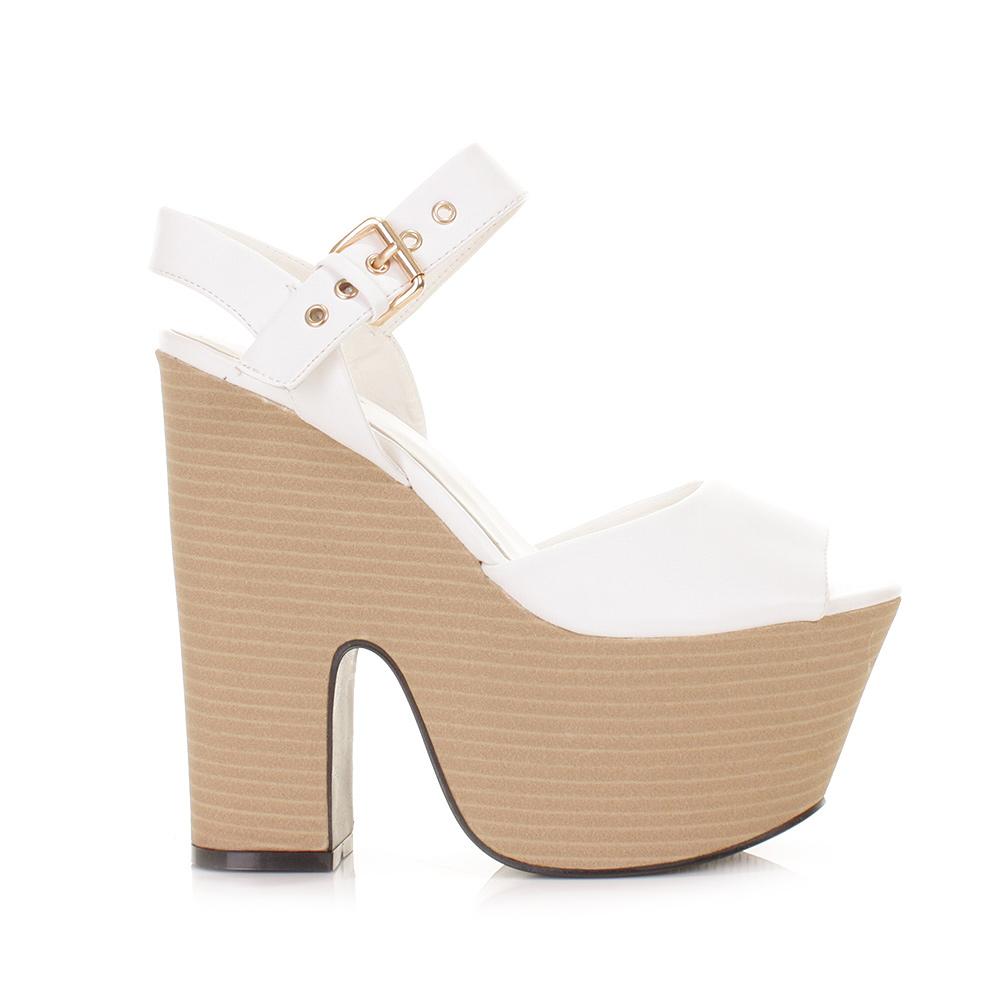 White Wedge High Heels