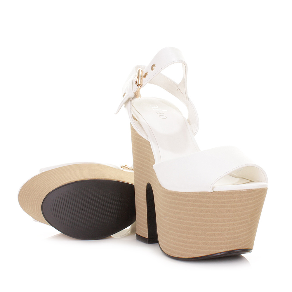 White Platform Wedge Heels