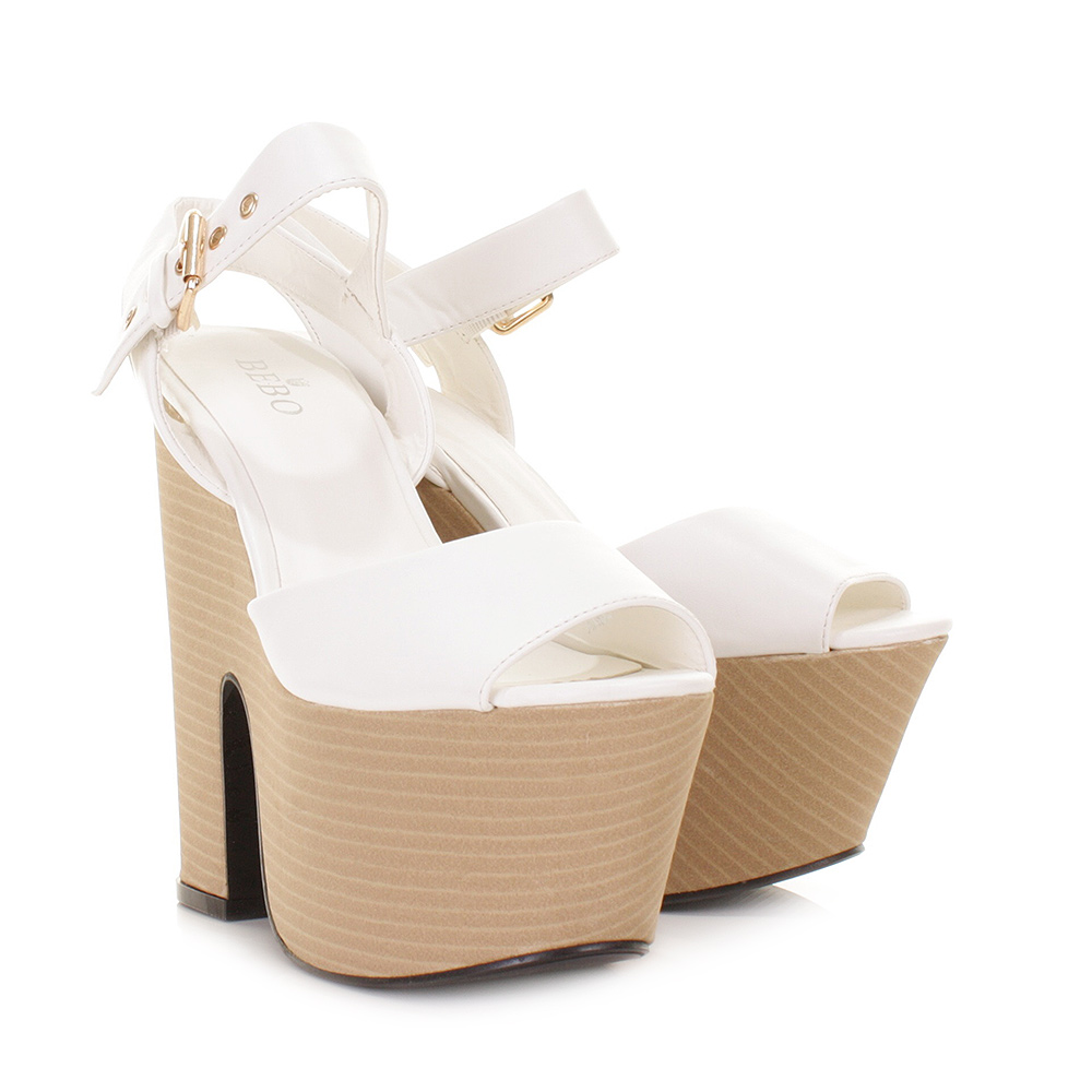 Wedge High Heel Shoes Womens White Leather Look Demi Platform Size ...