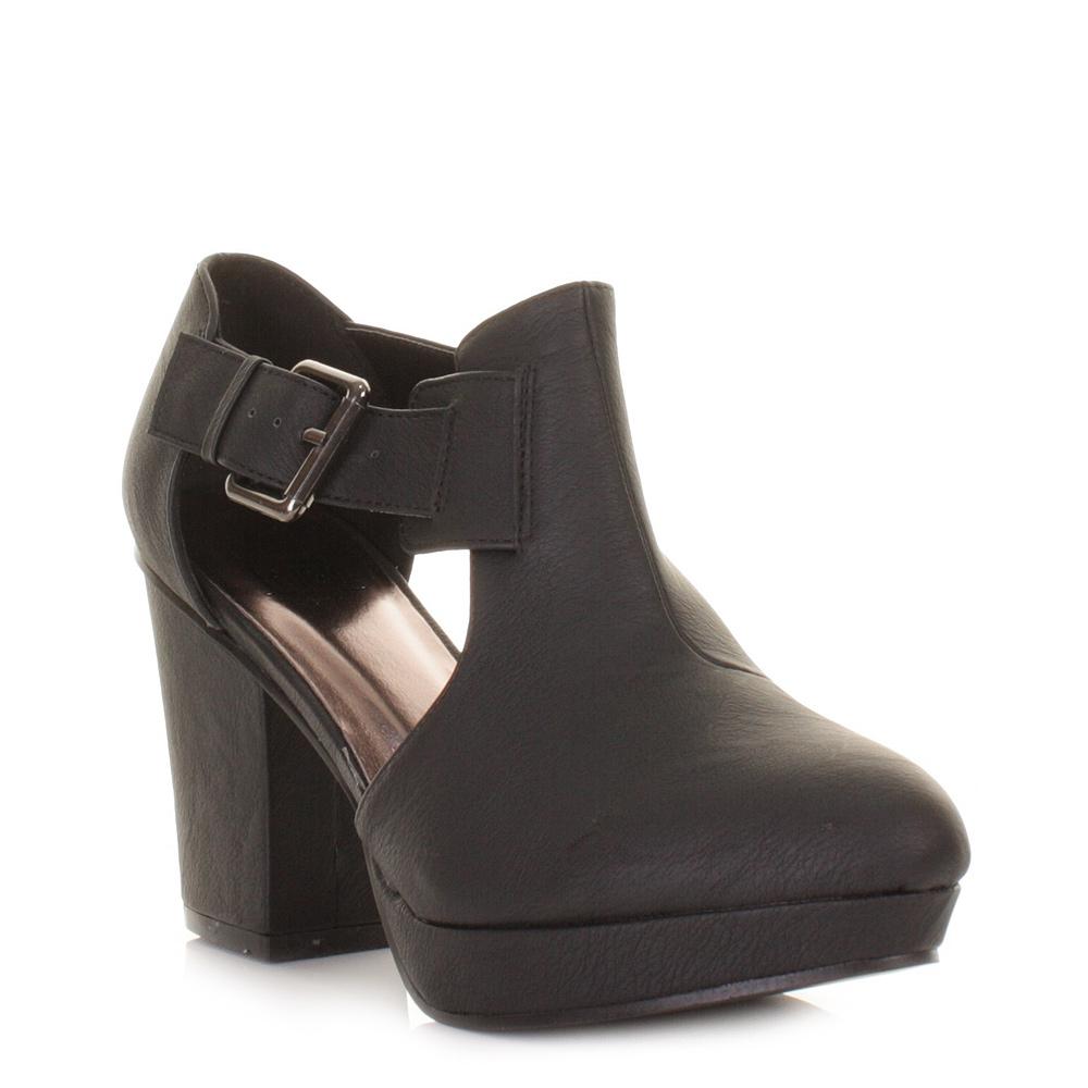 womens black cut out side buckle platform ankle