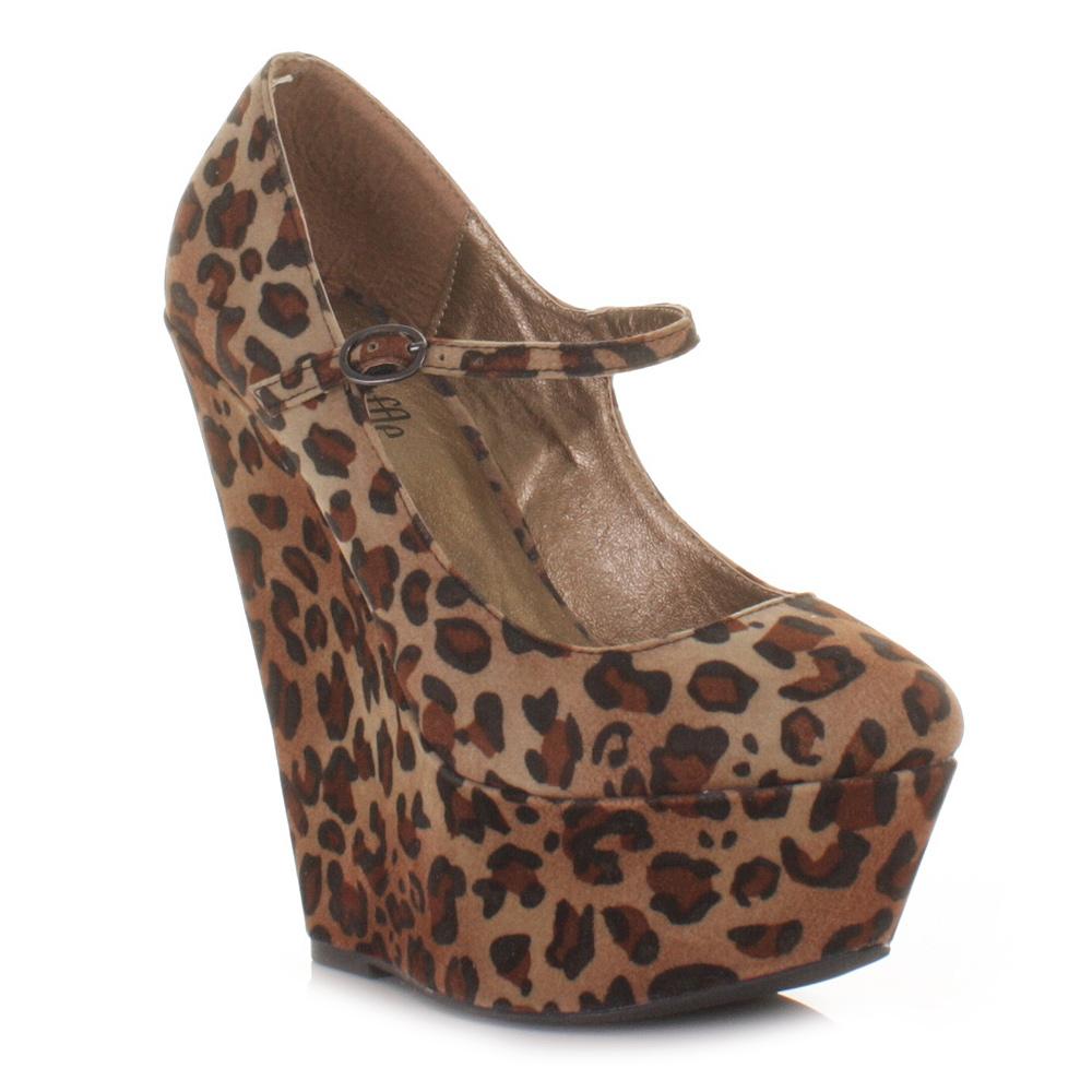 womens platform wedge heel leopard print wedge