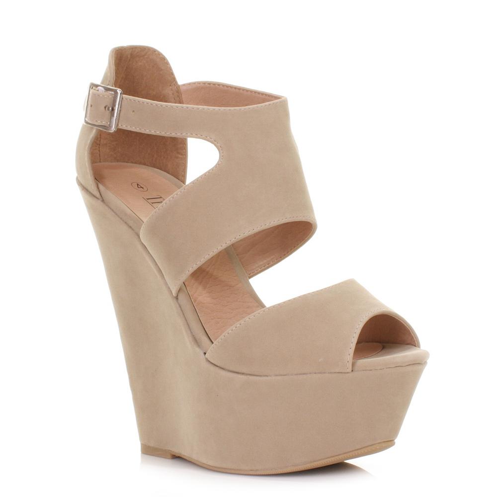 womens high heeled wedge heels suede style platform