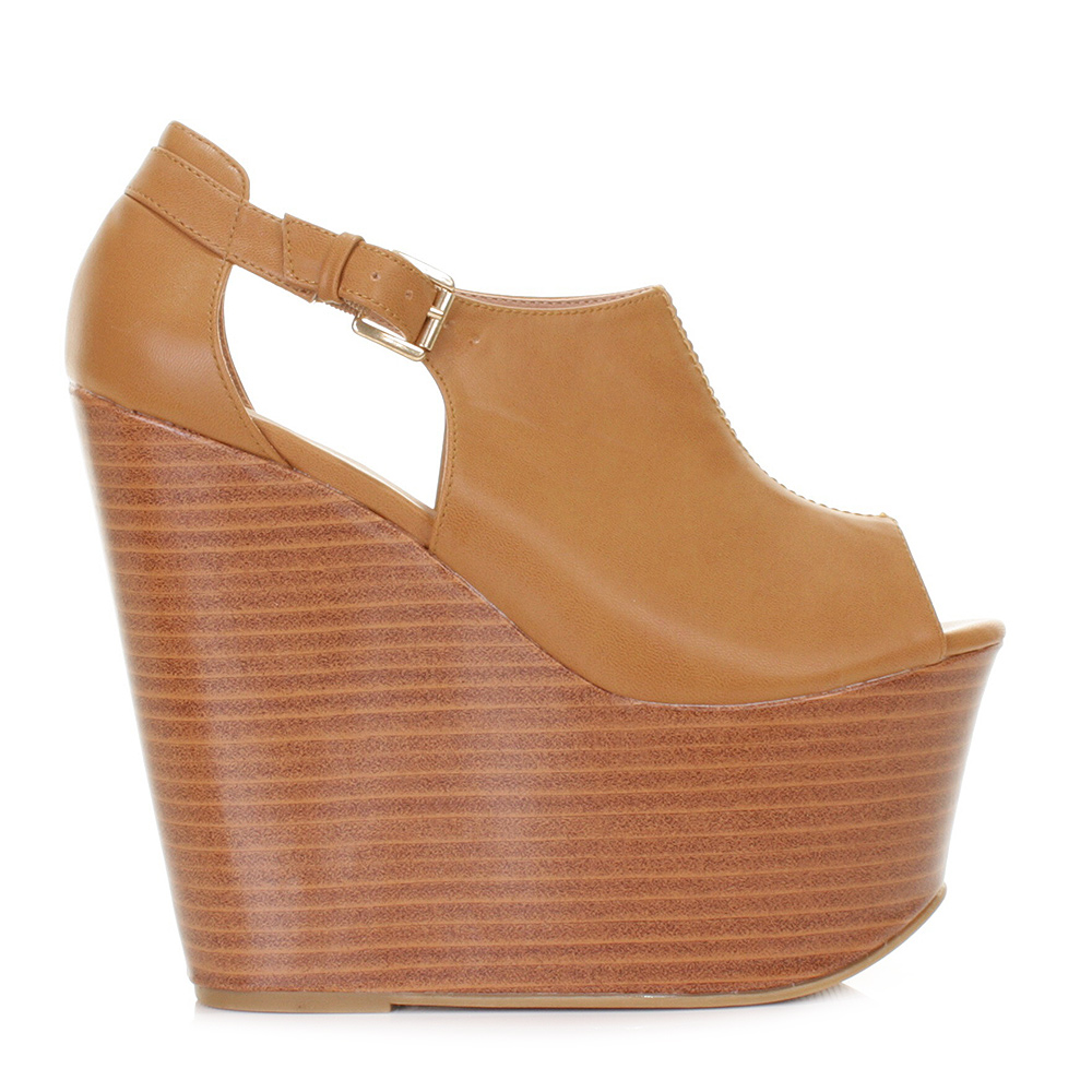 womens stacked platform peep toe cut out wedge