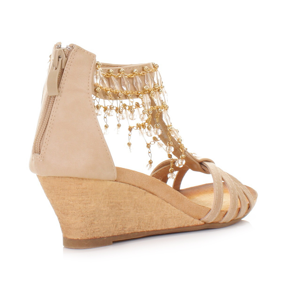 womens beige low wedge heel strappy sandals shoes bead