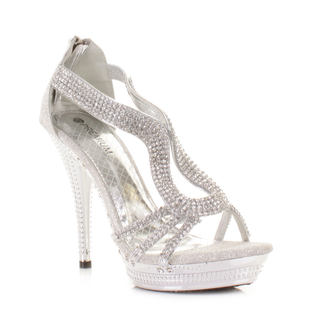 WOMENS LADIES STRAPPY SILVER DIAMANTE GLAM PARTY HIGH HEEL SHOES ...