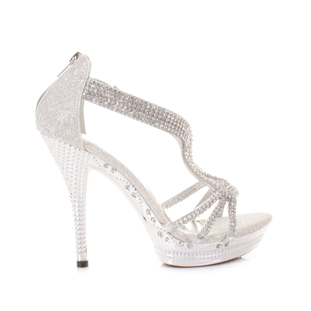 womens strappy silver diamante glam high heel