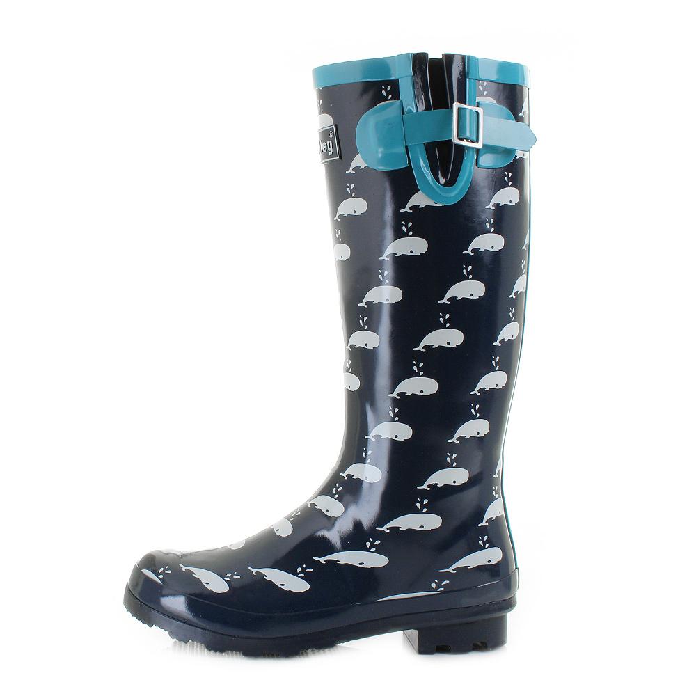womens whale blue navy white waterproof wellies wellington