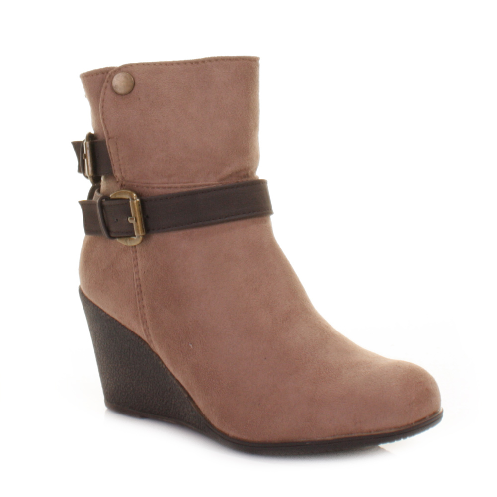 xti taupe wedge heel ankle boots with womens