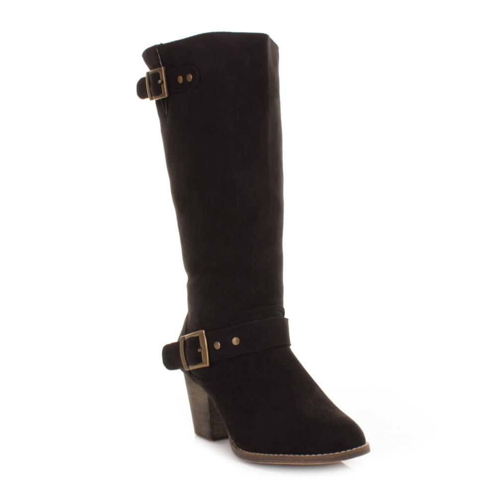 womens xti black suede style heeled western knee