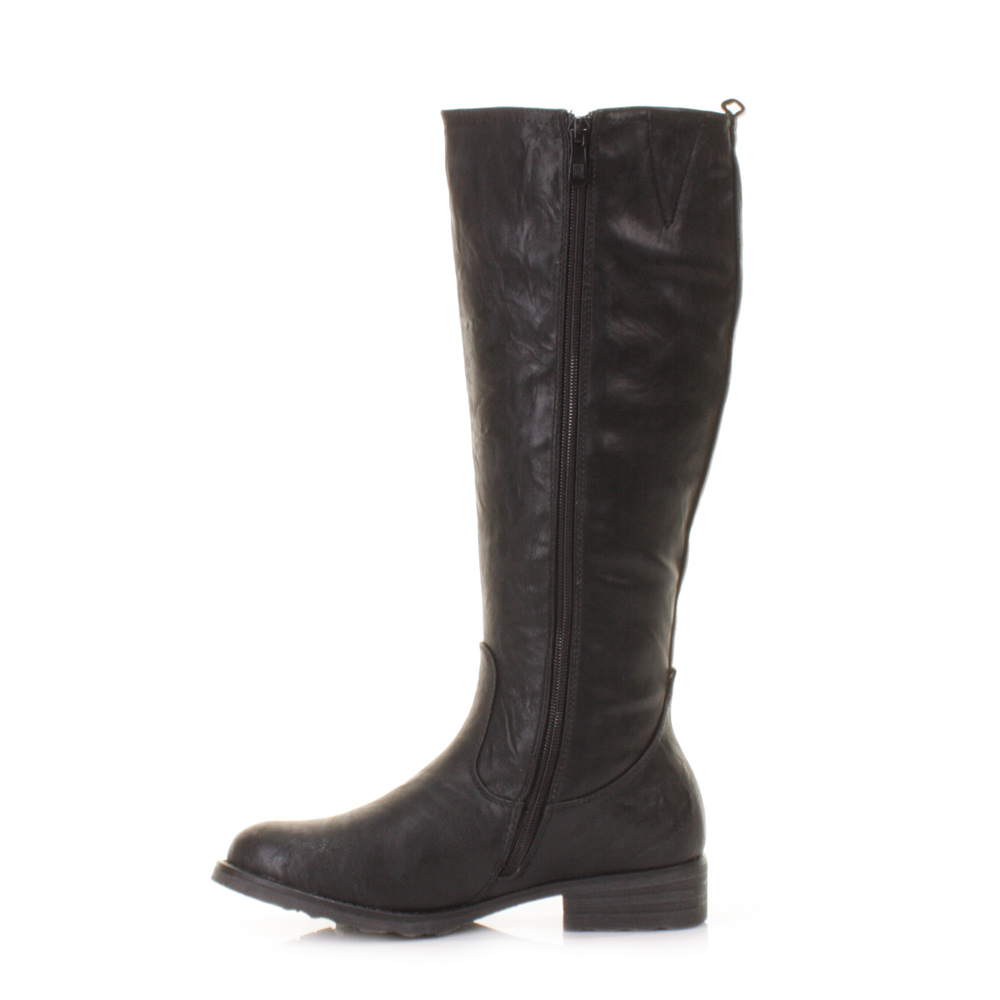 womens xti black gold zip leather style knee high