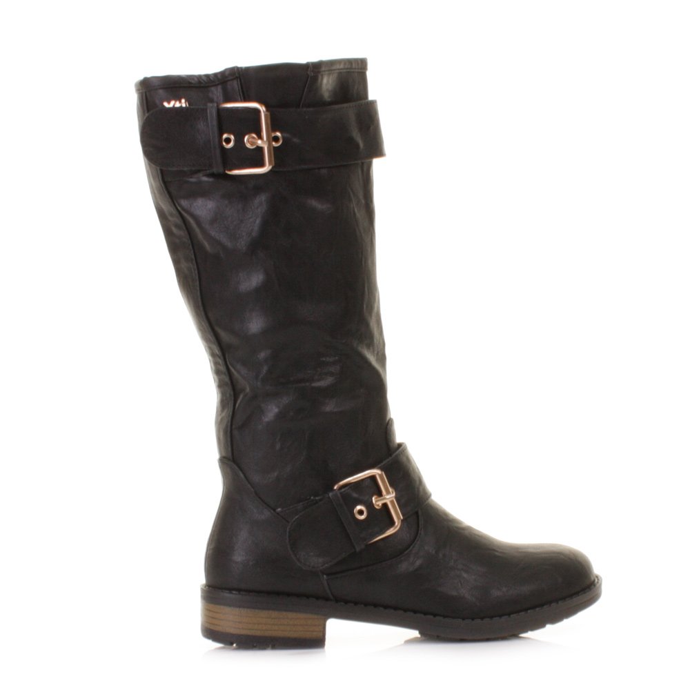 womens xti mid calf black leather style buckle biker