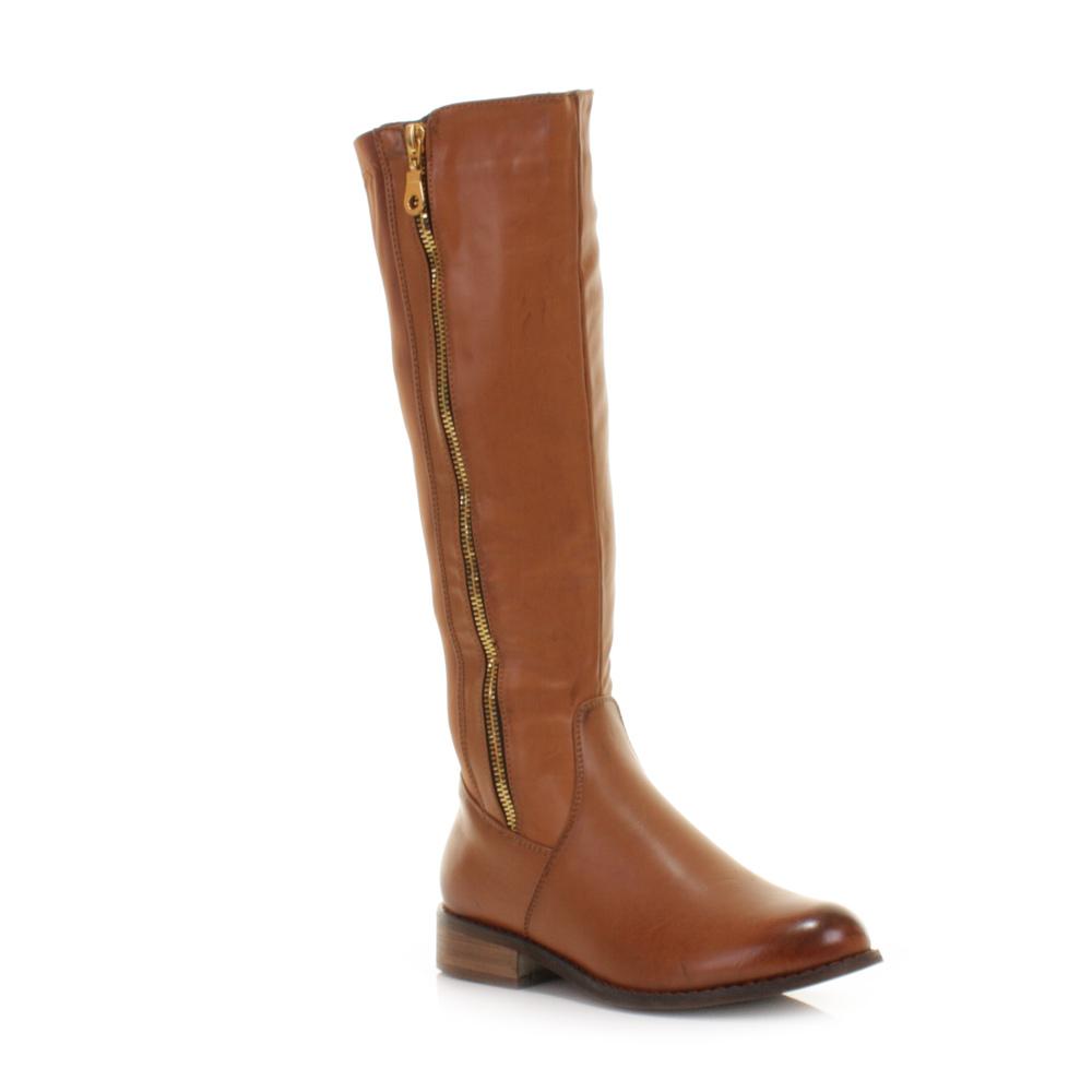 womens flat winter elasticated panel knee high