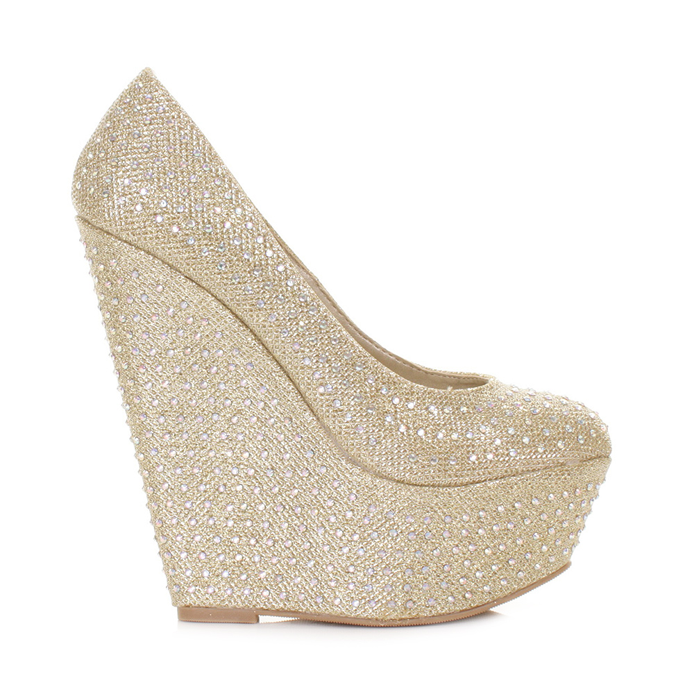 wedge womens peep toe shoe shimmer diamante heel platform