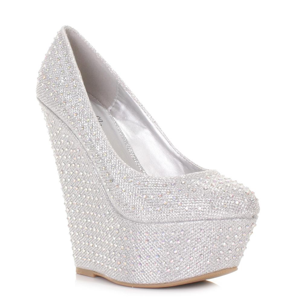 womens shimmer diamante peep toe wedge heel platform