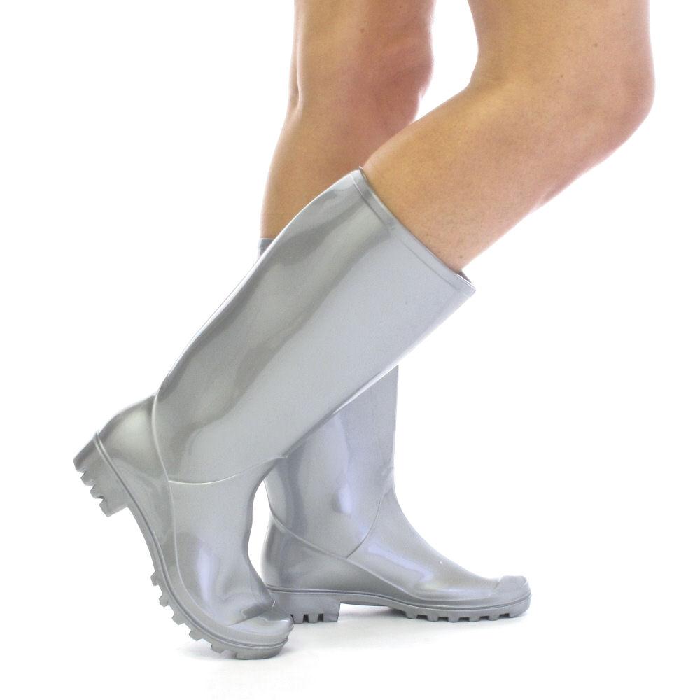silver womens wellies wellington boots size 3 8 ebay