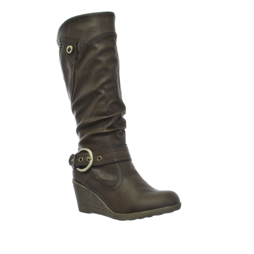 womens brown mid wedge heel knee high boots size 3 8 ebay