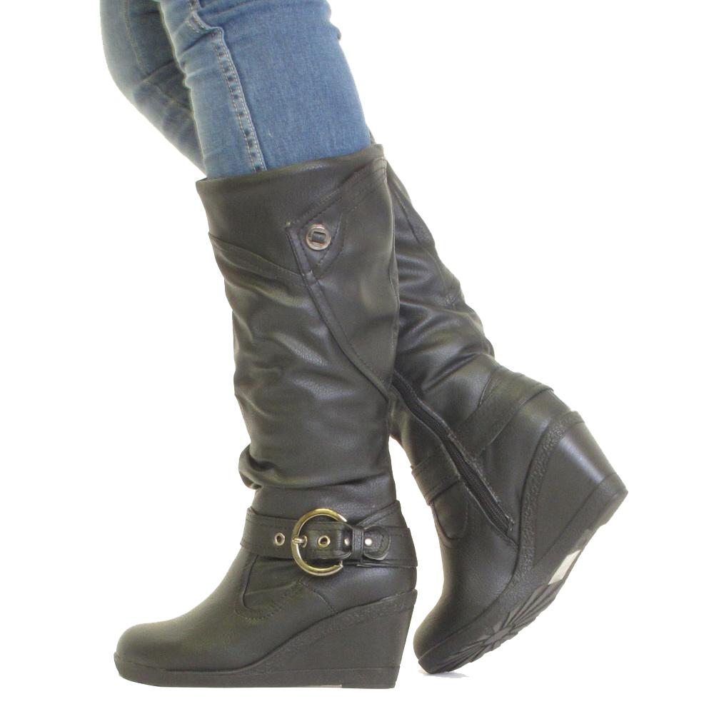 black leather look wedge heel knee high buckle