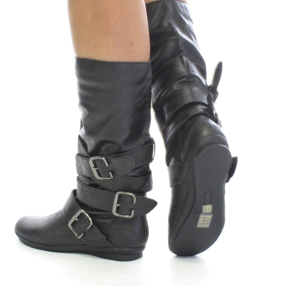 womens black leather style biker boots size 3 8 ebay