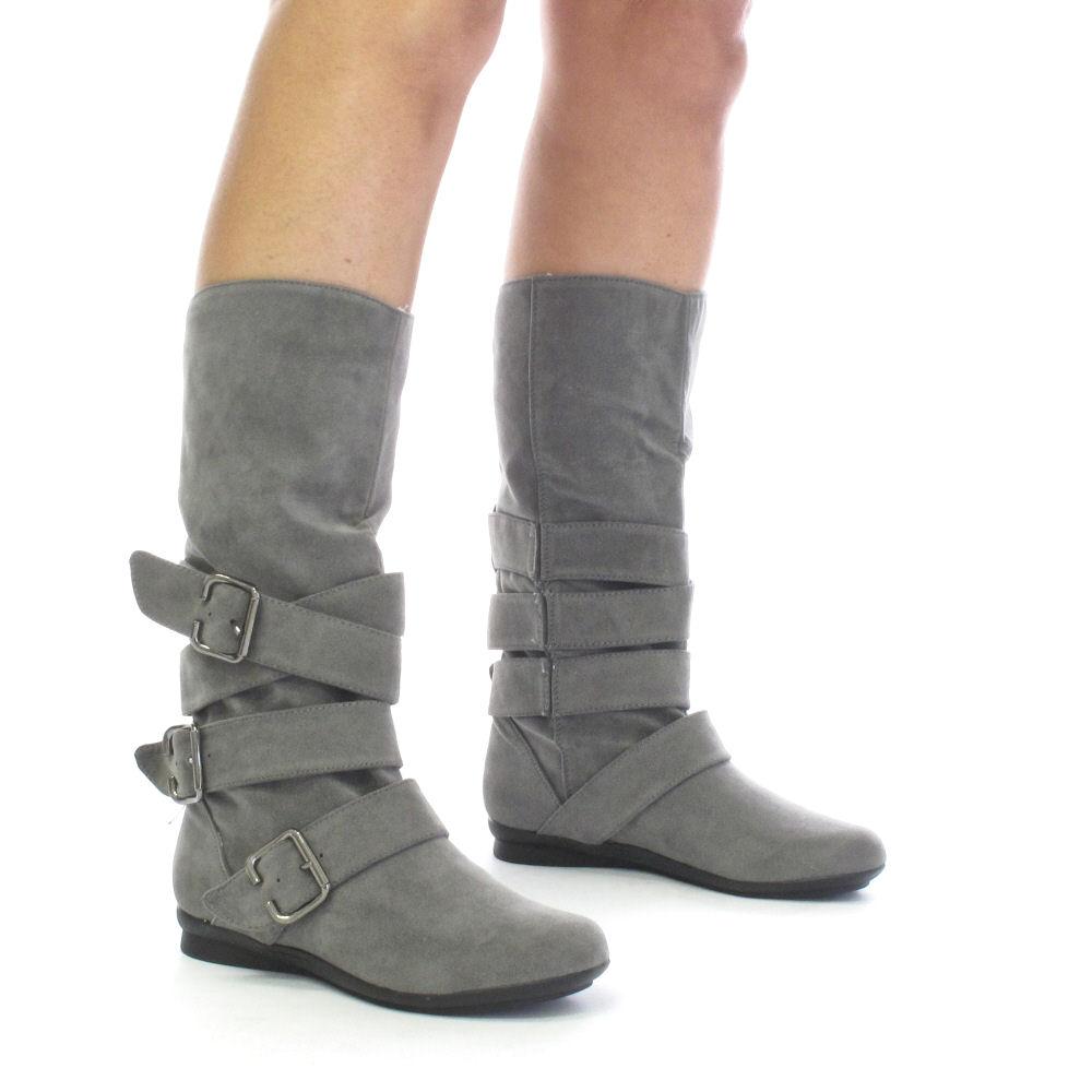 womens grey suede style biker boots size 3 8 ebay