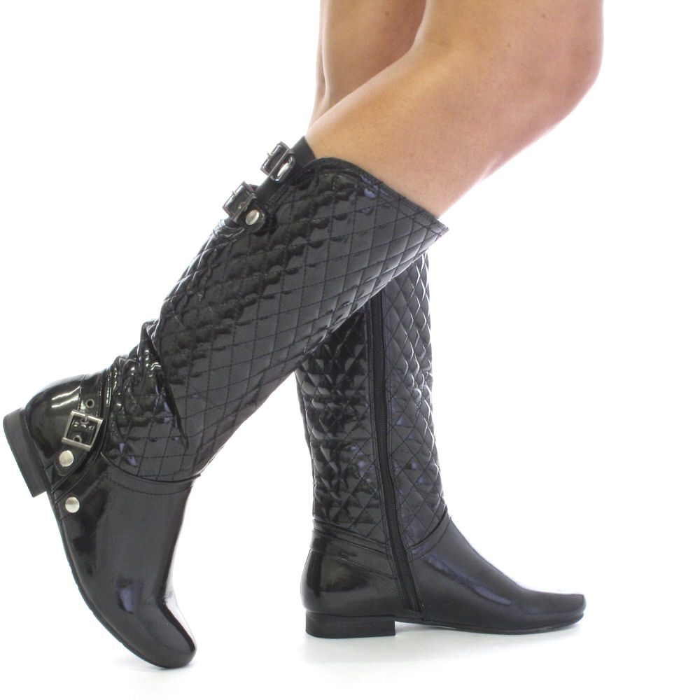 womens black patent quilted biker boots size 3 8 ebay