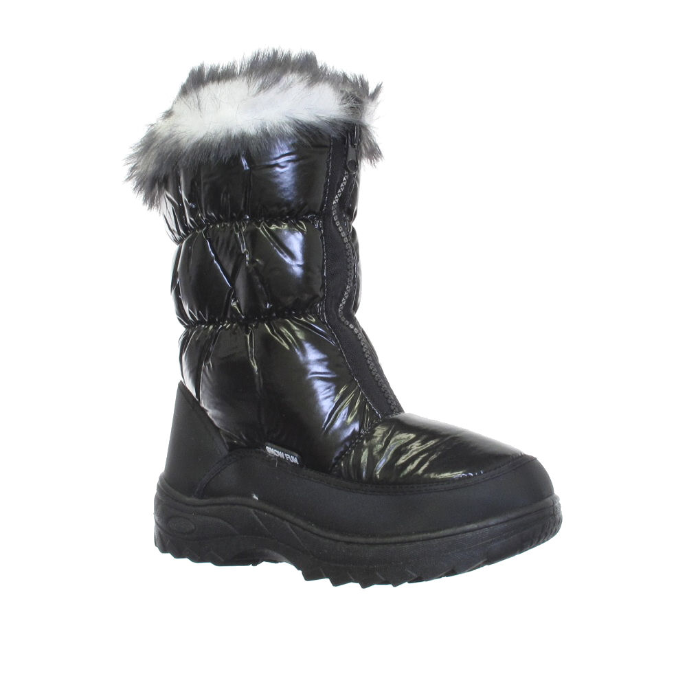 womens black quilted snow winter fur boots size 3 9 ebay