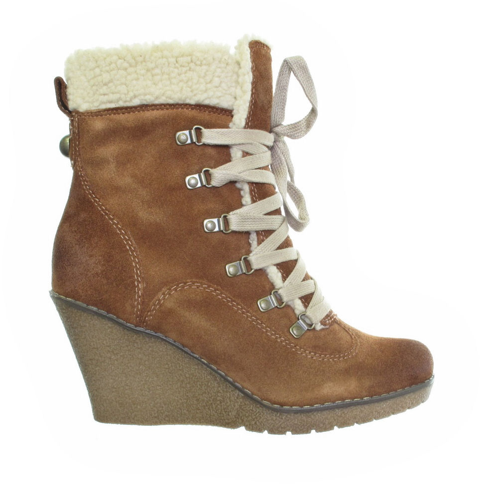 moda in pelle wedge suede lace up hiking boots size 3 8 ebay