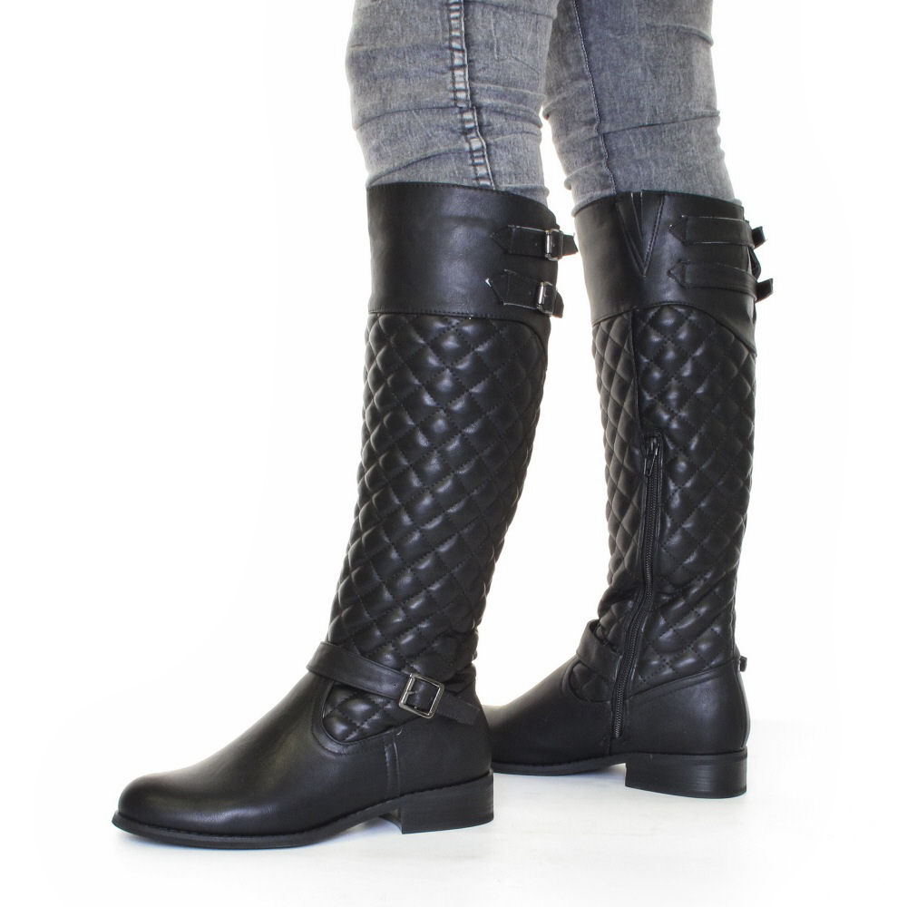 womens biker boots black leather style quilted size 5 10