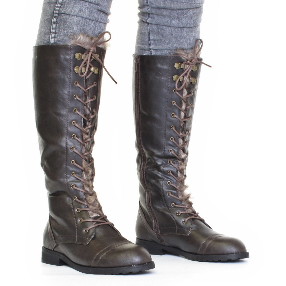 womens knee high lace up fur army boots size 3 8