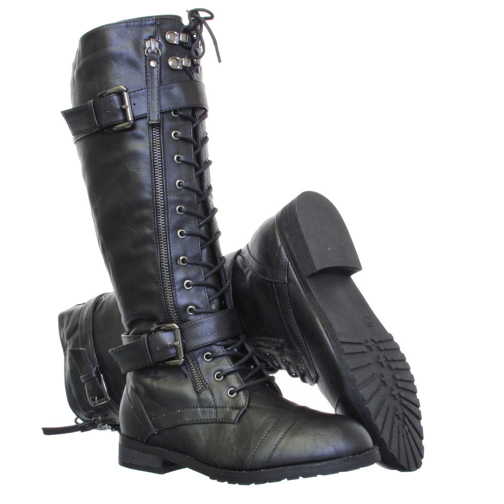 WOMENS KNEE HIGH LACE UP MILITARY ARMY COMBAT BOOTS SIZE 3-8 | eBay