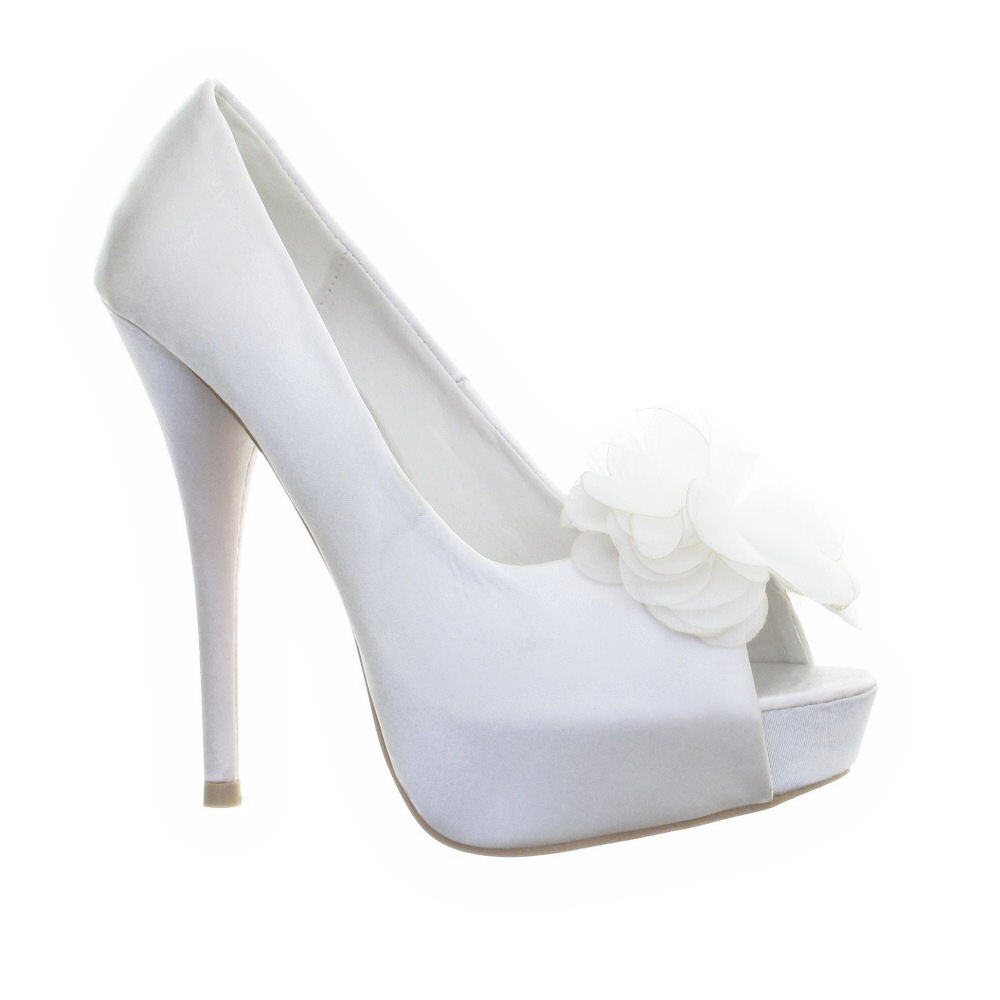 womens wedding bridal white satin platform peep toe high