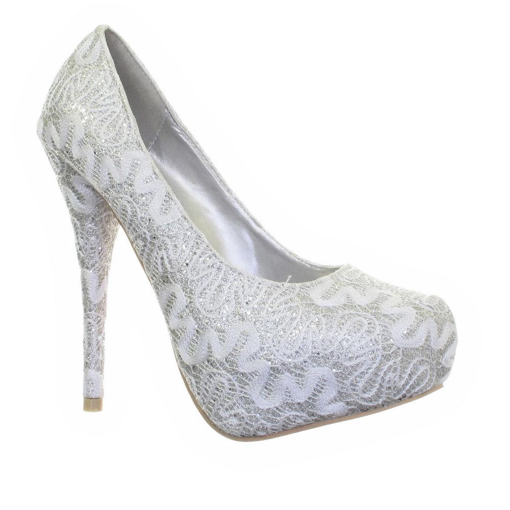 womens wedding bridal silver white lace platform