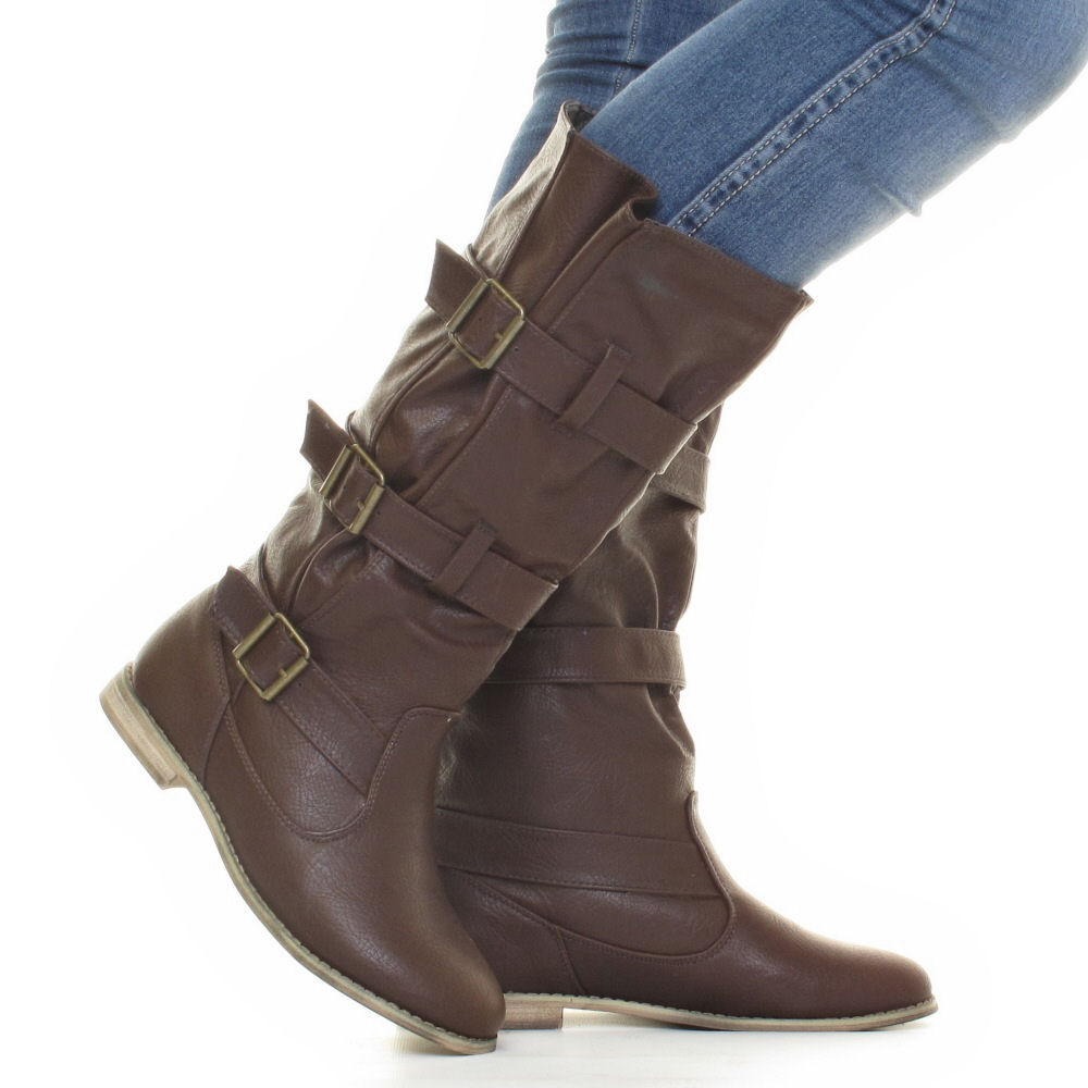 womens wide fit calf leg flat casual leather style buckle