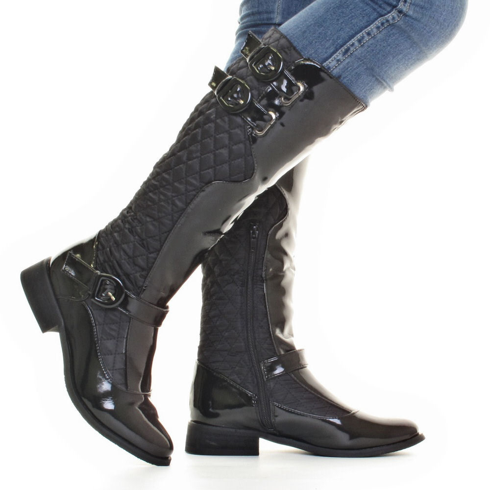 Womens Quilted Flat Riding Black Patent Knee High Ladies