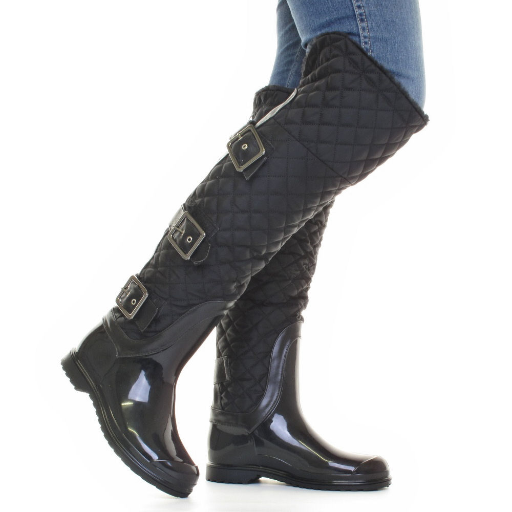 womens quilted thigh knee black wellies