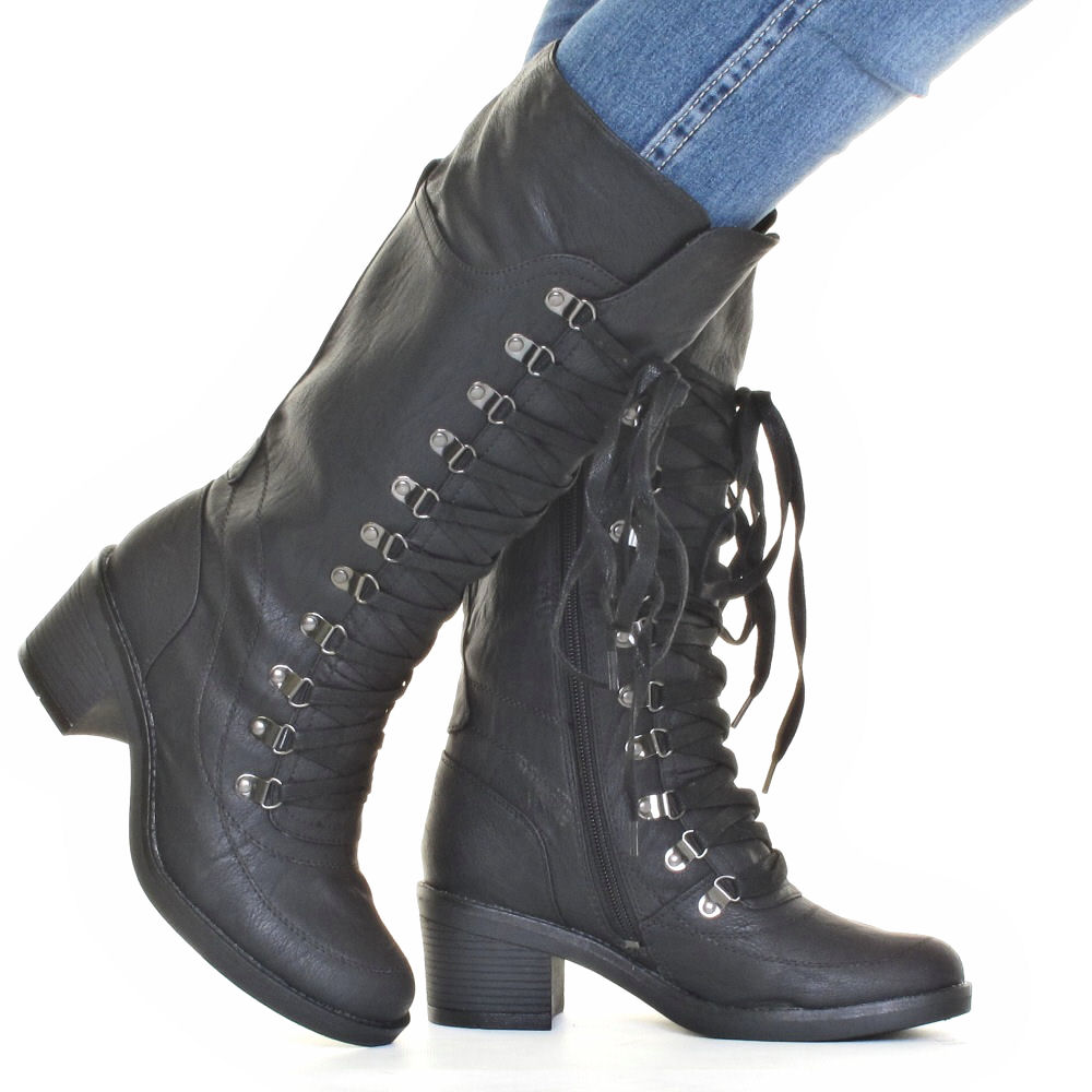 WOMENS-LACE-UP-HIKING-MILITARY-CALF-MID-HEEL-LEATHER-STYLE-LADIES-BOOT-SIZE-3-8