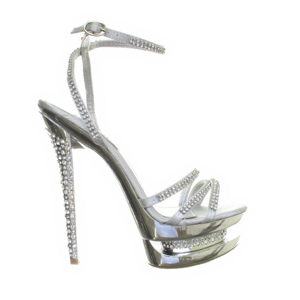 womens silver diamante high heel diamante platform strappy