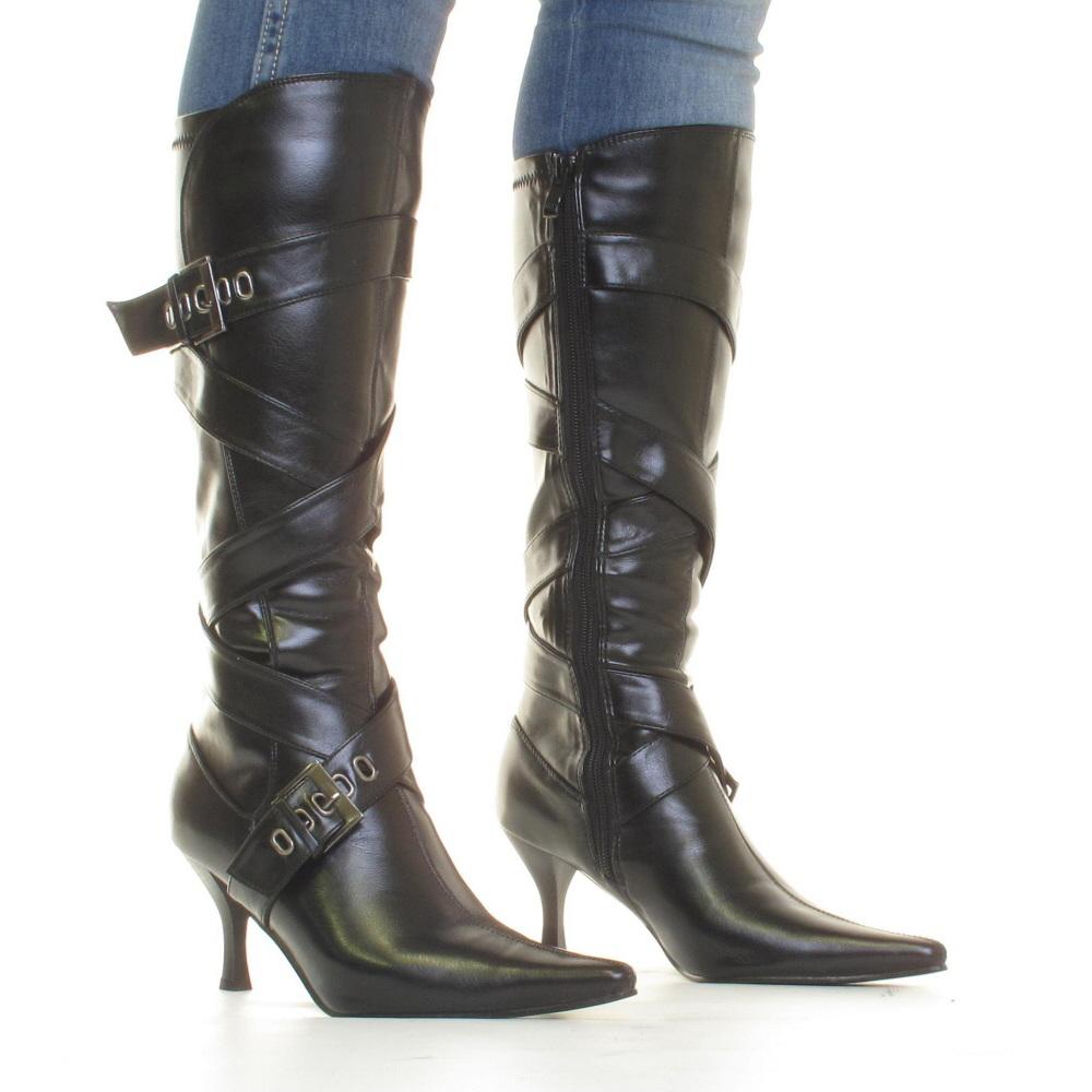 womens black kitten heel knee high mid heel