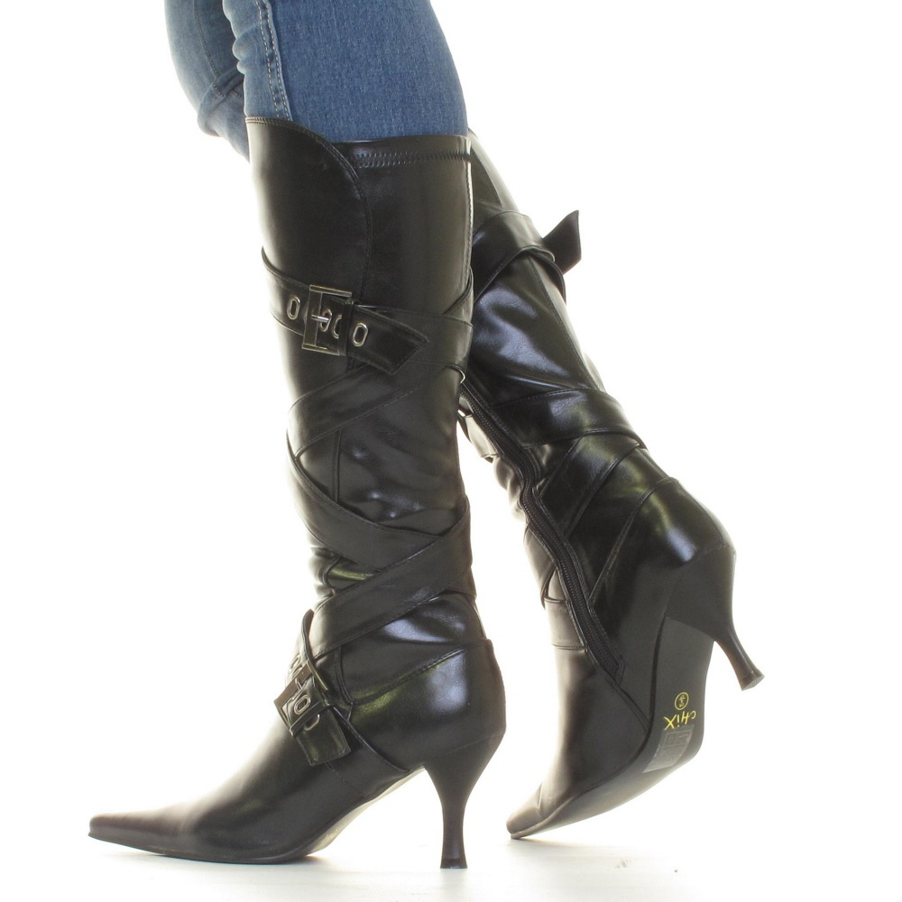 womens black kitten heel knee high mid heel