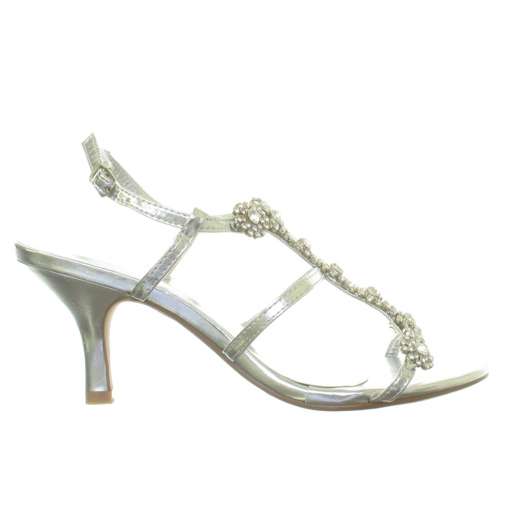 WOMENS SILVER DIAMANTE LOW MID HEEL WEDDING BRIDAL PARTY SHOES SANDALS SIZE 3 8